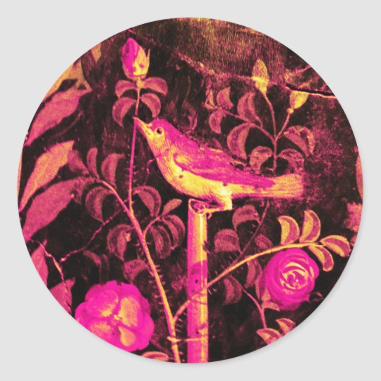 NIGHTINGALE WITH ROSES Pink Fuchsia Yellow Black Classic Round Sticker