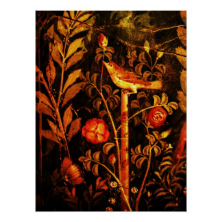 NIGHTINGALE WITH ROSES Red Black Yellow Print