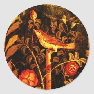 NIGHTINGALE WITH ROSES Red Yellow Black Classic Round Sticker