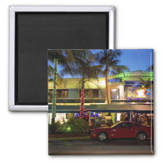 Nightlife on Ocean Drive, South Beach, Miami 2 Inch Square Magnet