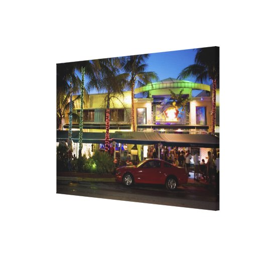 Nightlife on Ocean Drive, South Beach, Miami Stretched Canvas Print