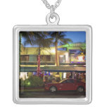 Nightlife on Ocean Drive, South Beach, Miami Square Pendant Necklace