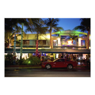 Nightlife on Ocean Drive, South Beach, Miami Photographic Print