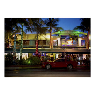 Nightlife on Ocean Drive, South Beach, Miami Poster