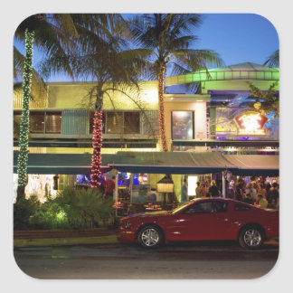 Nightlife on Ocean Drive South Beach Miami Square Stickers