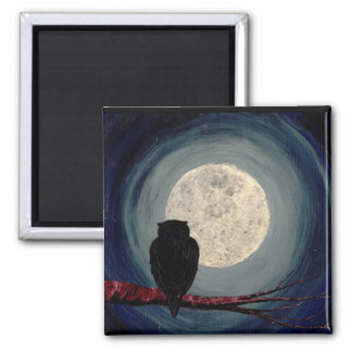 NIGHTLY COMPANIONS (an owl & moon design) ~ 2 Inch Square Magnet