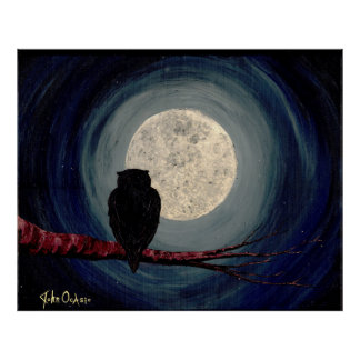 NIGHTLY COMPANIONS (owl moon art) ~ Poster