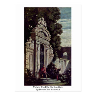 Nightly Duel On Garden Gate By Moritz Von Schwind Postcard