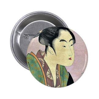 Nightly love by Kitagawa, Utamaro Ukiyoe Pinback Button
