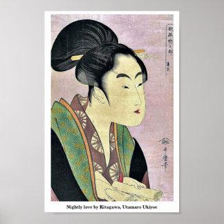 Nightly love by Kitagawa, Utamaro Ukiyoe Poster