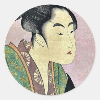 Nightly love by Kitagawa, Utamaro Ukiyoe Classic Round Sticker