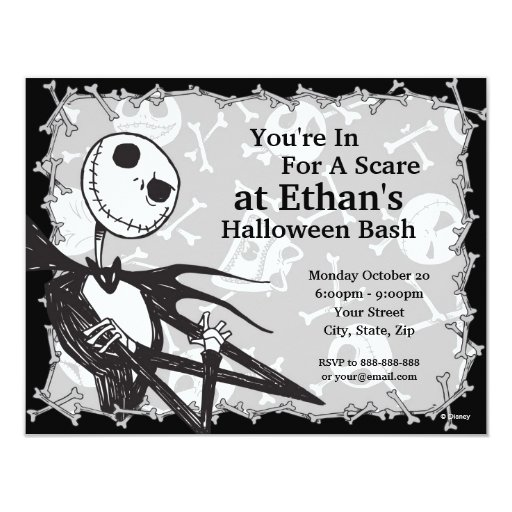 Magnificent Nightmare Before Christmas Halloween Party Card Zazzle Funny Birthday Cards Online Ioscodamsfinfo