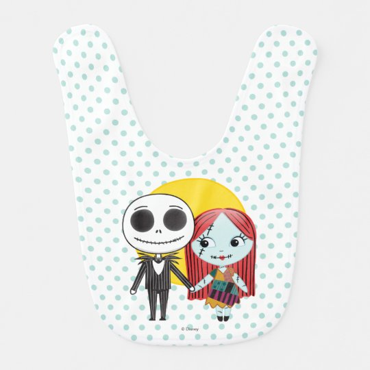 nightmare before christmas jack sally emoji baby bib