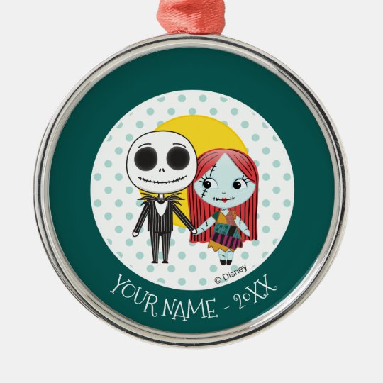 nightmare before christmas jack sally emoji metal ornament