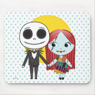 Nightmare Before Christmas   Jack & Sally Emoji Mouse Pad