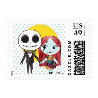 Nightmare Before Christmas | Jack & Sally Emoji Postage Stamp
