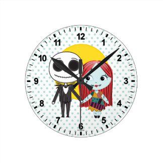 Nightmare Before Christmas | Jack & Sally Emoji Round Clock
