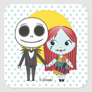 Nightmare Before Christmas | Jack & Sally Emoji Square Sticker