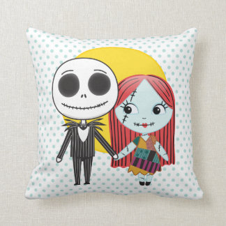 Nightmare Before Christmas | Jack & Sally Emoji Throw Pillow