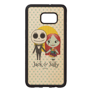 Nightmare Before Christmas | Jack & Sally Emoji Wood Samsung Galaxy S6 Edge Case