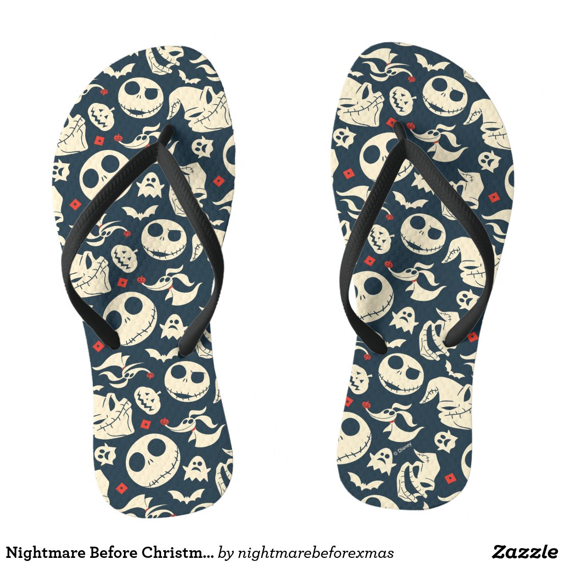 Nightmare Before Christmas | Oh What Joy - Pattern Flip Flops