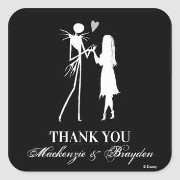 Disney Themed Nightmare Before Christmas - Wedding Thank You Square Sticker