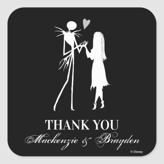 nightmare before christmas wedding thank you square sticker