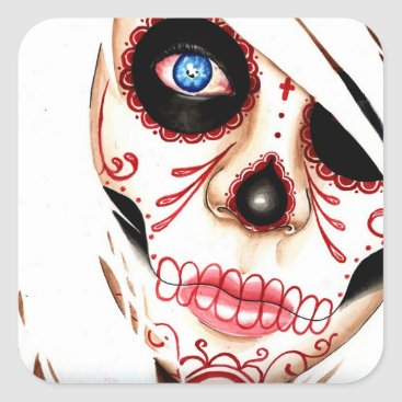 NeverDieArt Nightmares Day of the Dead Sugar Skull Girl Square Sticker