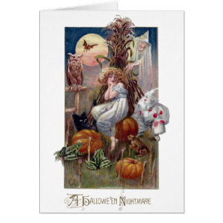 Nightmarish Halloween Creatures and Woman Card