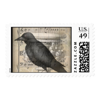 Nightmusic Crow Postage Stamp