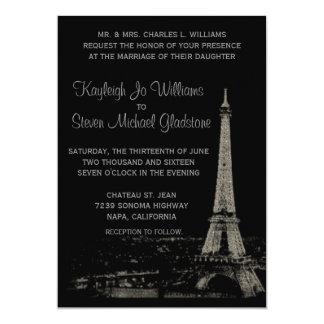 Nights in Paris Wedding 5x7 Paper Invitation Card