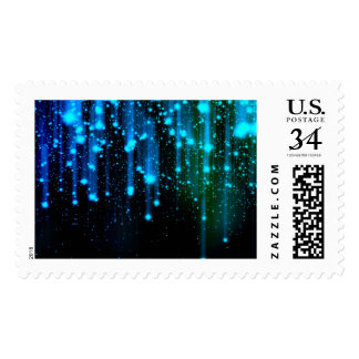 Nights Of Rain and Stars Meteor Shower Blue Postage