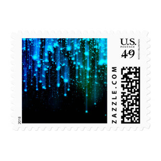 Nights Of Rain and Stars Meteor Shower Blue Postage Stamp