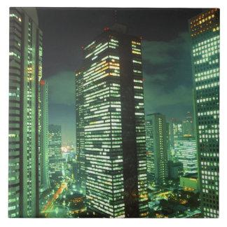 Nightscape, Shinjuku, Tokio, Japón Azulejo Cuadrado Grande