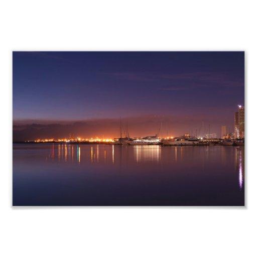 nightscape with sailboats photo print