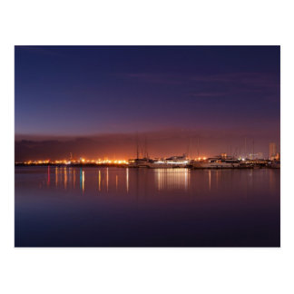 nightscape with sailboats postcard