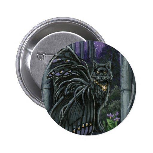 Nightshade Black Fairy Cat Button