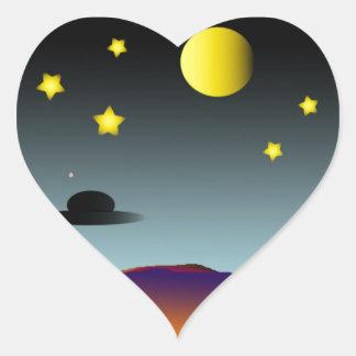 Nightsky Pegatina En Forma De Corazón