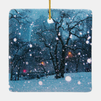 Nighttime City Snow Ceramic Ornament