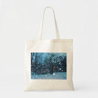 Nighttime City Snow Tote Bag