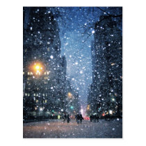 Nighttime City Snowfall Postcard