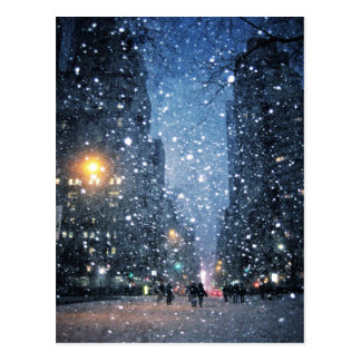 Nighttime City Snowfall Postcard