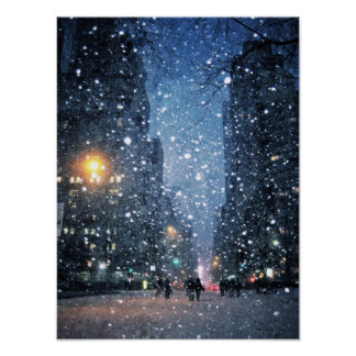 Nighttime City Snowfall Poster