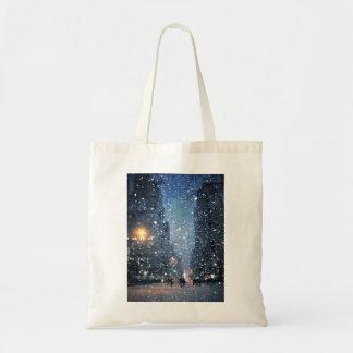 Nighttime City Snowfall Tote Bag