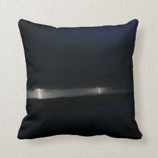 Nighttime Double Lightning Throw Pillow