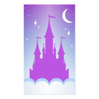 Nighttime Dreamy Castle In The Clouds Starry Sky Business Card Templates
