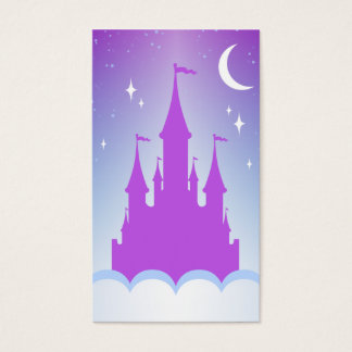 Nighttime Dreamy Castle In The Clouds Starry Sky Business Card