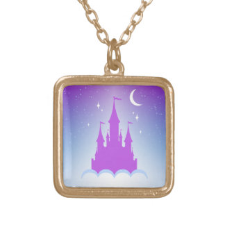 Nighttime Dreamy Castle In The Clouds Starry Sky Gold Plated Necklace