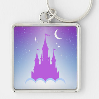 Nighttime Dreamy Castle In The Clouds Starry Sky Keychain