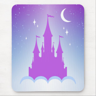 Nighttime Dreamy Castle In The Clouds Starry Sky Mouse Pad